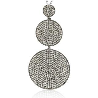 Suzy Levian Blackened Sterling Silver Cubic Zirconia Graduating Circle Pendant