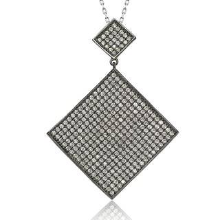 Suzy Levian Blackened Sterling Silver Cubic Zirconia Diamond Shaped Pendant