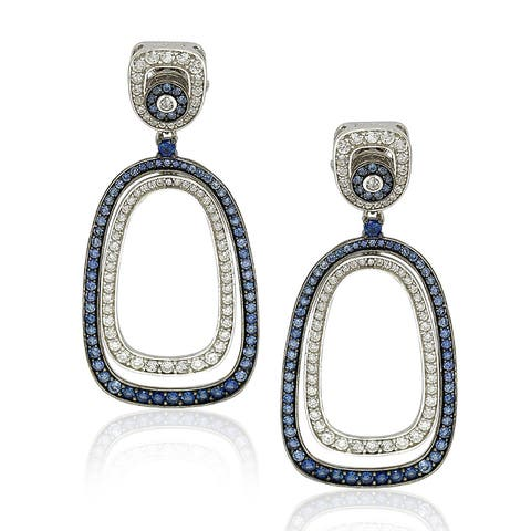 Suzy Levian Sterling Silver Blue Sapphire Earrings