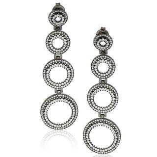 Suzy Levian Sterling Silver Cubic Zirconia Graduating Circle Earrings