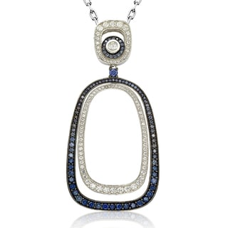 Suzy Levian Sterling Silver Simulated Sapphire and Cubic Zirconia Pendant