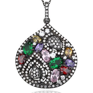 Suzy Levian Pave Multi-Color Sterling Silver Pendant Necklace