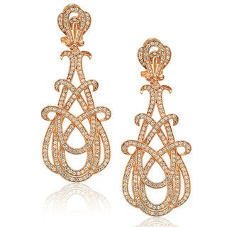 Suzy Levian Rosed Sterling Silver Cubic Zirconia Gladiator Twist Earrings