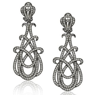 Suzy Levian Rosed Sterling Silver Cubic Zirconia Gladiator Twist Earrings
