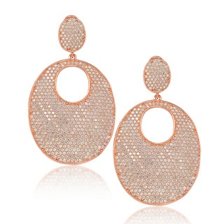Suzy Levian Rose Sterling Silver Cubic Zirconia Pave Oval Earrings