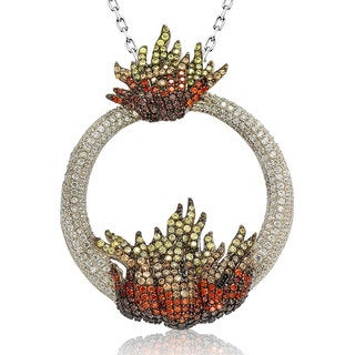 Suzy Levian Sterling Silver Cubic Zirconia Ring of Fire Pendant Necklace