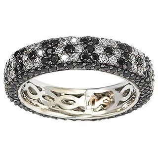 Suzy Levian Sterling Silver Cubic Zirconia Black and White Flower Eternity Band (More options available)