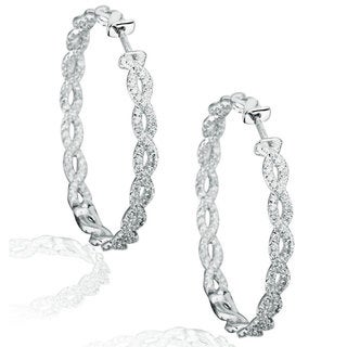 Suzy Levian Pave Cubic Zirconia Sterling Silver Twisted Hoop Earrings