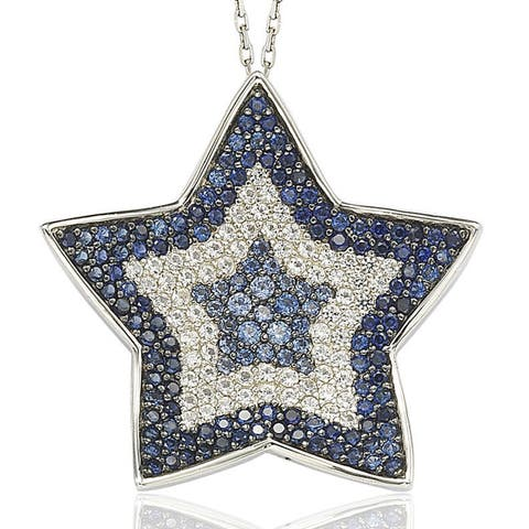 Suzy L. Sapphire and Diamond in Sterling Silver and 18K Gold Star Pendant Necklace - Blue