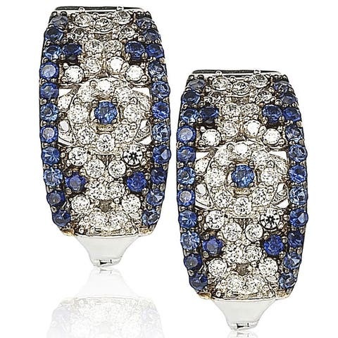 Suzy L. Sterling Silver and 18K Gold 1 1/2ct TGW Sapphire and Diamond Accent Abstract Earrings - Blue