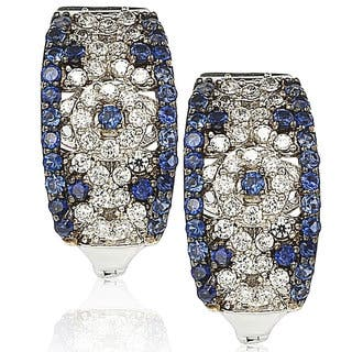 Suzy Levian Sterling Silver and 18K Gold 1 1/2ct TGW Sapphire and Diamond Accent Abstract Earrings - Blue|https://ak1.ostkcdn.com/images/products/10394924/P17497916.jpg?impolicy=medium