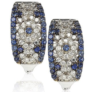 Suzy Levian Sterling Silver and 18K Gold 1 1/2ct TGW Sapphire and Diamond Accent Abstract Earrings - Blue