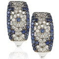 Suzy Levian 18k White Gold 1 1/2ct TGW Sapphire and Diamond Accent Abstract Earrings