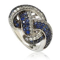 Shop Suzy Levian Sterling Silver And 18k Gold Sapphire And
