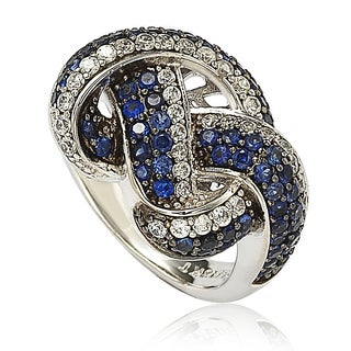 Suzy Levian Sapphire and Diamond in Sterling Silver and 18K Gold Love Knot Ring - Blue