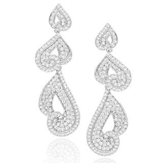 Suzy Levian Cubic Zirconia Sterling Silver Dangle Swirl Earrings