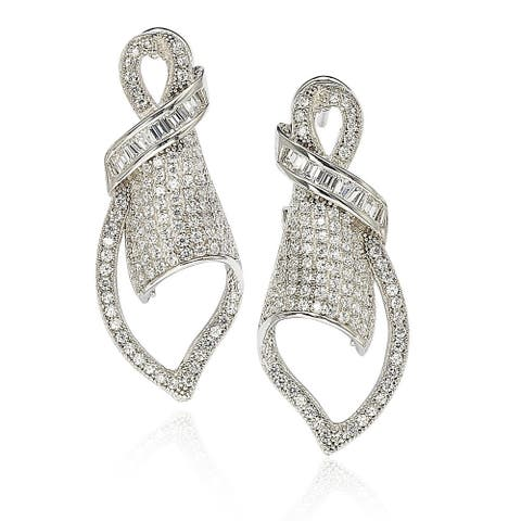 Suzy Levian Cubic Zirconia Sterling Silver Art Deco Pave Earrings - White