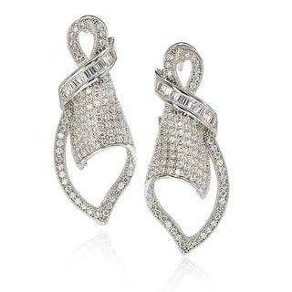 Suzy Levian Cubic Zirconia Sterling Silver Art Deco Pave Earrings