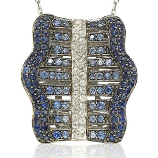 Suzy Levian 2.81CT Sapphire and Diamond in Sterling Silver and 18K Gold Gladiator Pendant Necklace