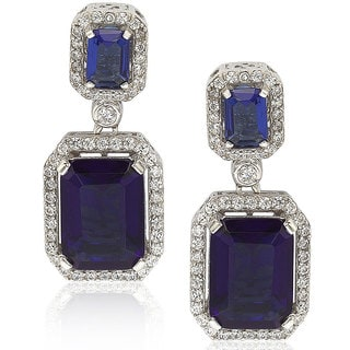Suzy Levian Sterling Silver Sapphire Blue Cubic Zirconia Earrings