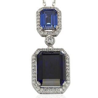Suzy Levian Sterling Silver Blue Sapphire Blue Cubic Zirconia Pendant Necklaces