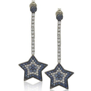 Suzy Levian Sterling Silver and 18K Gold Sapphire and Diamond Star Earrings - Blue