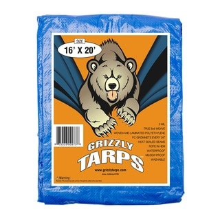 Grizzly Tarps 16 x 20 ft. Blue Multi-purpose Waterproof 5mm Thick 8 x 8 sq. in. Weave Poly Tarp Cover