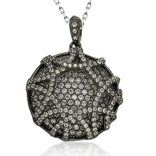 Suzy Levian Blackened Sterling Silver Cubic Zirconia Pendant