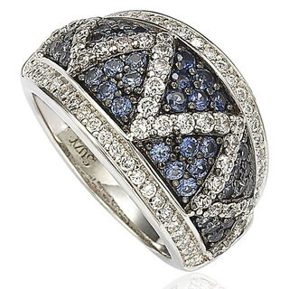 Suzy Levian Sterling Silver and 18K Gold Sapphire and Diamond Pave Zig Zag Ring (More options available)