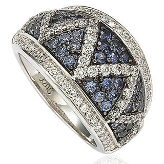 Suzy Levian Sterling Silver and 18K Gold Sapphire and Diamond Pave Zig Zag Ring - Blue