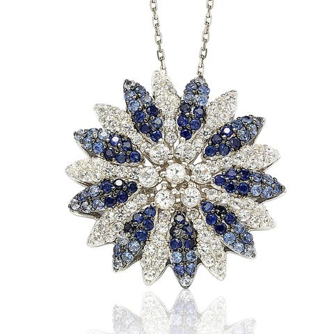 Suzy L. Sapphire and Diamond in Sterling Silver and 18K Gold Pendant
