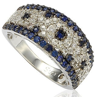 Suzy Levian 2.28CT Sapphire and Diamond in Sterling Silver and 18K Abstract Gold Ring - Blue