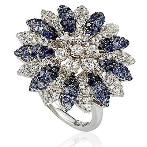Suzy L. Sapphire and Diamond in Sterling Silver and 18K Gold Logo Ring - Blue