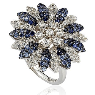 Suzy Levian Sapphire and Diamond in Sterling Silver and 18K Gold Logo Ring - Blue