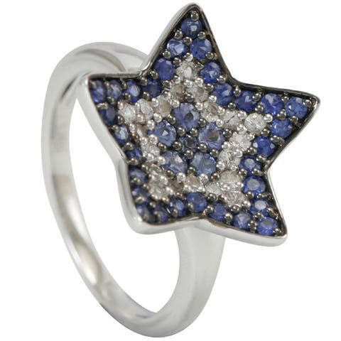 Suzy Levian 1CT Sapphire and Diamond in Sterling Silver and 18K Gold Star Ring - Blue
