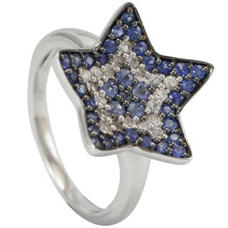 Suzy Levian 1CT Sapphire and Diamond in Sterling Silver and 18K Gold Star Ring