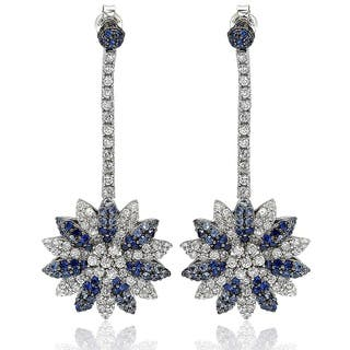 Suzy Levian Sapphire and Diamond in Sterling Silver and 18K Gold Earring|https://ak1.ostkcdn.com/images/products/10394964/P17497937.jpg?impolicy=medium