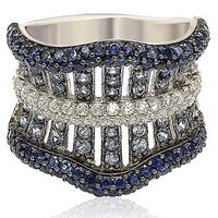 Suzy Levian Sterling Silver Sapphire and 6 CTtw Diamond Gladiator Ring