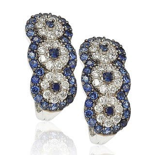 Suzy Levian Sapphire and Diamond in Sterling Silver and 18K Gold Earrings|https://ak1.ostkcdn.com/images/products/10394967/P17497939.jpg?impolicy=medium