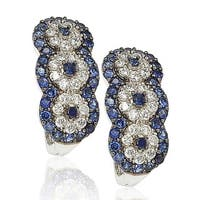 Suzy Levian Sapphire and Diamond in Sterling Silver and 18K Gold Earrings - Blue