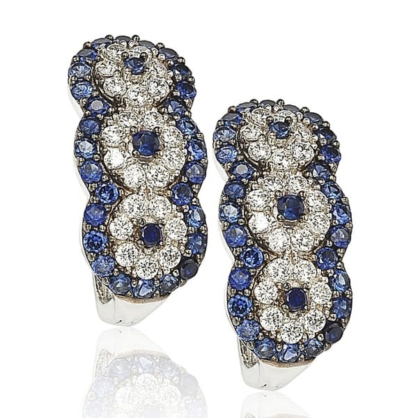 Suzy L. Sapphire and Diamond in Sterling Silver and 18K Gold Earrings - Blue