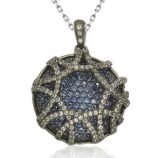 Suzy Levian Sapphire in Blackened Sterling Silver Pendant