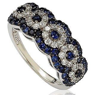 Suzy Levian Gold Plated Sterling Silver 2.8ct TGW Sapphire and .02ct Diamond Anniversary Band (W