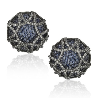 Suzy Levian Sapphire in Blackened Sterling Silver Earrings
