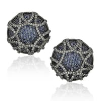 Suzy Levian Sapphire in Blackened Sterling Silver Earrings - Blue