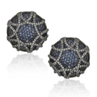 Suzy Levian Sapphire in Blackened Sterling Silver Earrings