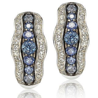 Suzy Levian Sapphire and Diamond in Sterling Silver and 18K Gold Earring|https://ak1.ostkcdn.com/images/products/10394982/P17497943.jpg?impolicy=medium