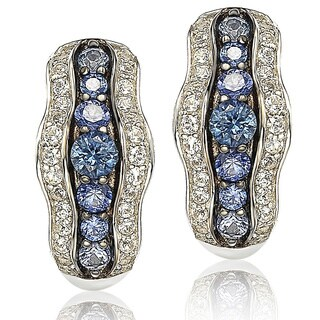 Suzy Levian Sapphire and Diamond in Sterling Silver and 18K Gold Earring - Blue