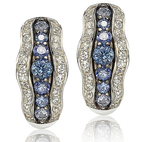 Suzy L. Sapphire and Diamond in Sterling Silver and 18K Gold Earring - Blue