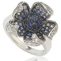 Suzy Levian 2.4 CT Sapphire and Diamond in Sterling Silver and 18K Pave Flower Gold Ring